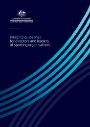 Integrity guidelines for directors and leaders of sporting organisations