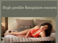 Exoctic Bangalore escorts services |anvimurthy.co.in