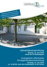 Weisung - Gemeindeversammlung vom 13. Juni 2016
