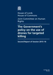 The Government's policy on the use of drones for targeted killing