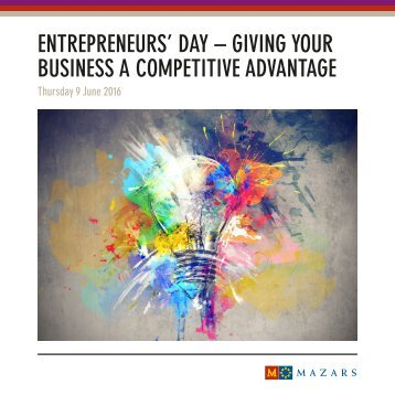 ENTREPRENEURS' DAY – GIVING YOUR BUSINESS A COMPETITIVE ADVANTAGE