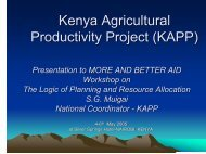 KENYA Agricultural Productivity Project KAPP - and Better