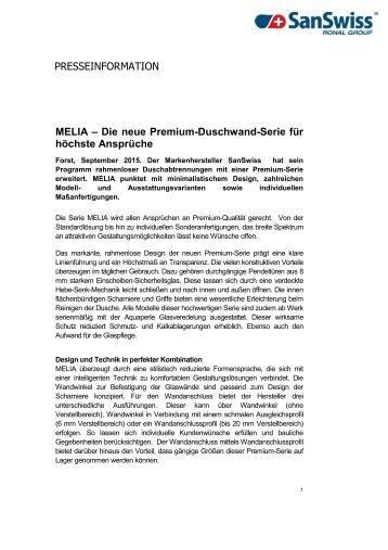 MELIA - Die neue Premium-Duschwand-Serie für höchste Ansprüche, erhältlich in der BRINGHEN GROUP