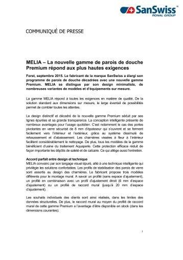 MELIA - La nouvelle gamme de parois de douche Premium répond aux plus hautes exigences
