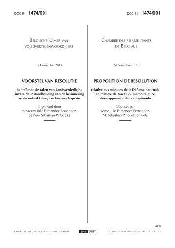 1474/001 1474/001 BELGISCHE KAMER CHAMBRE BELGIQUE