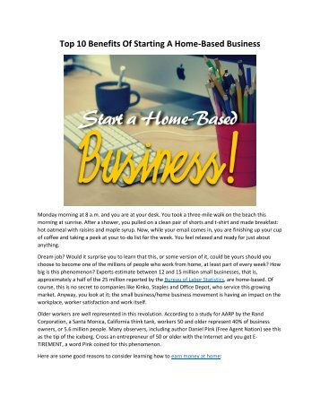 Top 10 Benefits Of Starting A Home Based Business Top 10 Home Based Businesses Anstek Net