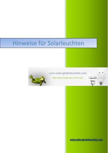 Hinweise für Solarleuchten
