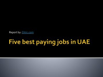 Five best paying jobs in UAE