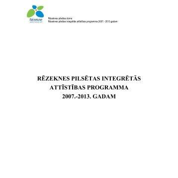 rēzeknes pilsētas integrētās attīstības programma 2007.-2013. gadam