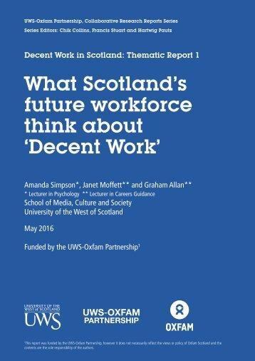 What Scotland's future workforce think about 'Decent Work'