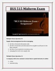 BUS 515 Midterm Exam Assignment