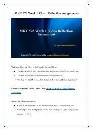 MKT 578 Week 1 Video Reflection Assignment