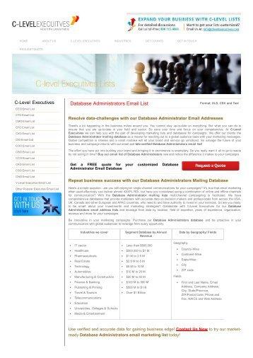 Database Administrator mailing list | USA Database Administrator Email Addresses