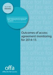 Outcomes of access agreement monitoring for 2014-15