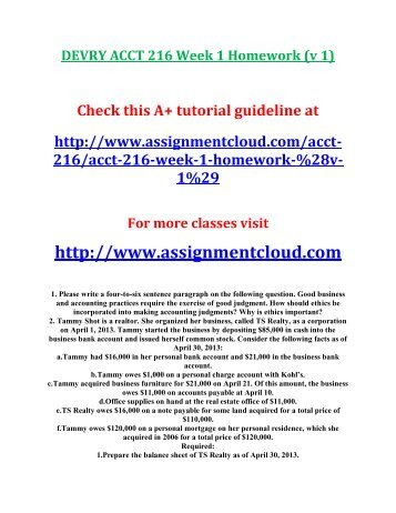 acct 573 week 1 homework Here is the best resource for homework help with acct 573 at devry university   1 pages fedtaxweek4 devry university, chicago acct 573 - spring 2013 .