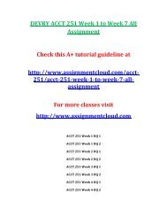 DEVRY ACCT 251 Week 1 to Week 7 All Assignment