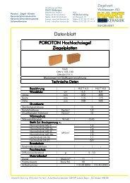 Produktdatenblatt Hochlochziegel Platten- und ... - HART Keramik