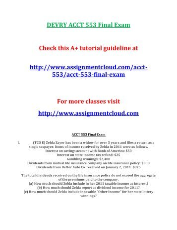 DEVRY ACCT 553 Final Exam