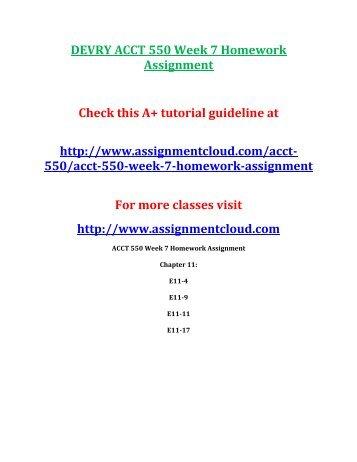 DEVRY ACCT 550 Week 7 Homework Assignment