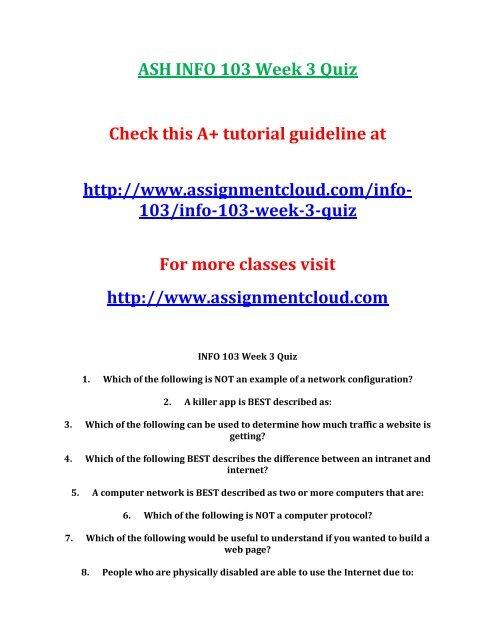 ASH INFO 103 Week 3 Quiz
