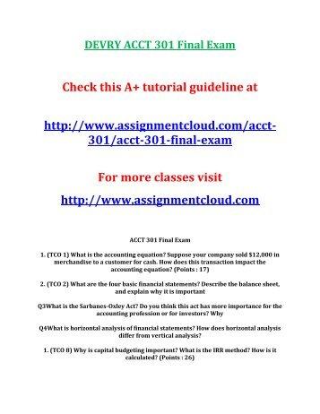 DEVRY ACCT 301 Final Exam