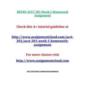 DEVRY ACCT 301 Week 1 Homework Assignment