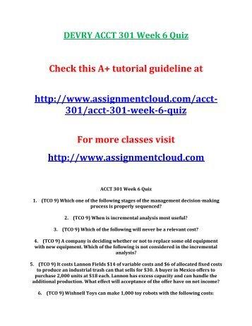DEVRY ACCT 301 Week 6 Quiz
