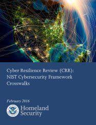 Cyber Resilience Review (CRR) NIST Cybersecurity Framework Crosswalks