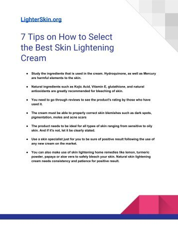 7 Tips on How to Choose the Best Skin Lightening Cream