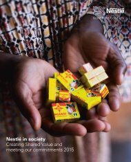 Nestlé in society Creating Shared Value and meeting our commitments 2015