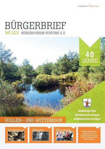 BÜRGERBRIEF Ausgabe 89 - Mai 2016 - Vereinsheft vom Bürgerverein Wüsting e.V.