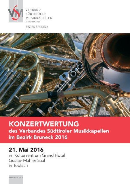Veranstaltungsbroschüre Konzertwertung 2016 in Toblach