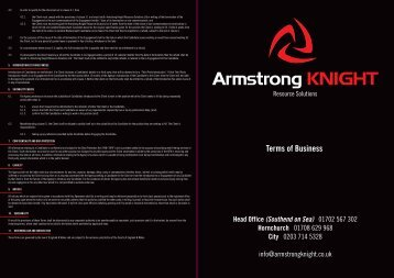 ARMSTRONG KNIGHT RESOURCE SOLUTIONS TERMS OF BUSINESS
