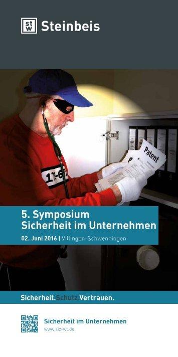 5. Steinbeis-Symposium  02. Juni 2016   Einladungsflyer
