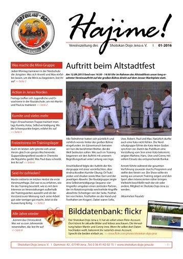 Shotokan Dojo Jena- Vereinszeitung 01-2016