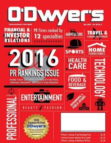 Communications & New Media May 2016 Vol 30 No 5 May 2016 | www.odwyerpr.com