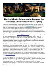 High End Libertyville Landscaping Company, Elan Landscape, Offers Various Outdoor