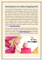 Marketplace for online shopping UAE