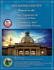 SAN MATEO COUNTY Report to the