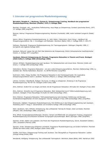 I. Literatur zur progressiven Muskelentspannung - Bogensport ...