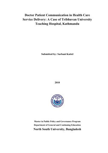 Doctor Patient Communication in Health Care Service ... - MPPG