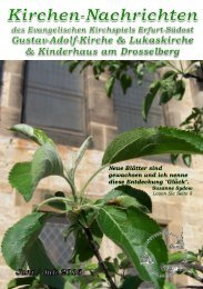 Kirchen-Nachrichten ev. Kirche Erfurt Südost Juni Juli 2016