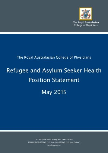 Refugee and Asylum Seeker Health Position Statement