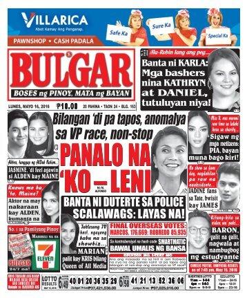 May 16, 2016 BULGAR: BOSES NG PINOY, MATA NG BAYAN