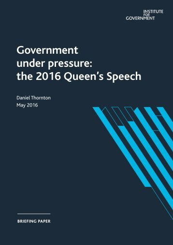Government under pressure the 2016 Queen's Speech