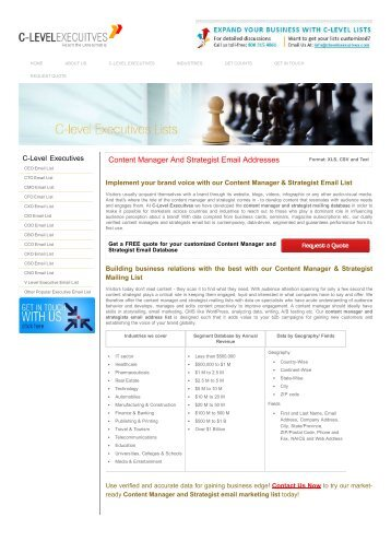 Content Manager Email List _ UK, US Content Strategist List