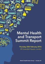 Mental Health & Transport Summit Report Contents