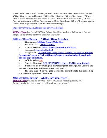 Affiliate Titan review - Affiliate Titan (MEGA) $23,800 bonuses
