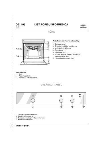 KitchenAid OBI 105 W - Oven - OBI 105 W - Oven SK (854147301020) Scheda programmi