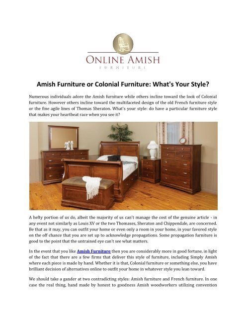 Amish Furniture Or Colonial Furniture What S Your Style